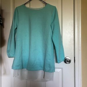 Sweaters - turquoise sweater with white layer